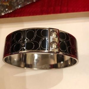 Coach black and silver bangle